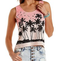 Tropical Graphic Ombre Tank Top by Charlotte Russe - Blush Combo