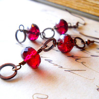 Dangle Earrings, Red Drops, Cranberry Drops Earrings, Czech Glass, Red and Copper Drop, Rustic Hoop Dangles