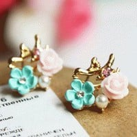 Bird and Flower Fashion Earrings | LilyFair Jewelry