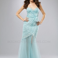 Aqua Ice Layered Organza Strapless Sweetheart Mermaid Prom Dress - Unique Vintage - Homecoming Dresses, Pinup & Prom Dresses.