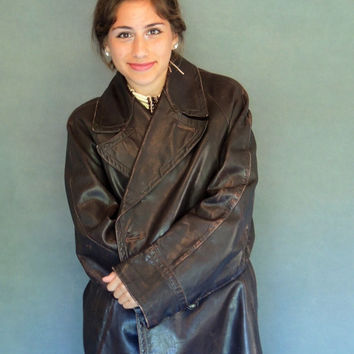 Vintage French leather coat WW2 / chocolate brown ceremonial military trench coat jacket / wonderful patina / slice of history
