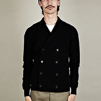 Jil Sander Men's Knitted Double Breasted Jacket in navy
