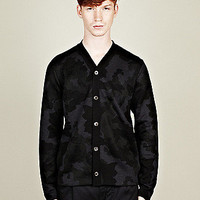 COMME des GARCONS SHIRT Men's Intarsia Camouflage Cardigan in black