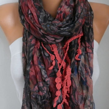 Spring Celebration Fashion Red Floral Scarf Mother's Gift Easter Cotton Cowl Scarf Gift Ideas For Women Fashion Accessories Women Scarves