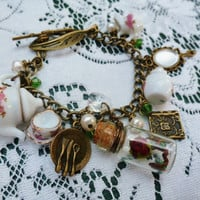 Deluxe Vintage style Beauty and the Beast full tea set charm bracelet with freshwater pearls and swarovksi crystals