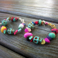 Day of the Dead Turquoise Skull and Dyed Howlite Gemstone Bracelet Rainbow Traditional Jewelry