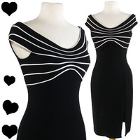 Vintage 80s 90s BODY CON Tadashi Bandage Party Dress S Cocktail Black White Glam | eBay
