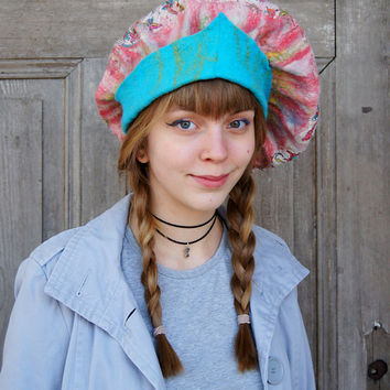 Unique elegant felted beret in pastel colors with large turquoise rim . OOAK