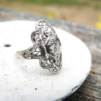 Graceful Edwardian to Art Deco 18K Gold Filigree Old European Cut Diamond Ring, with Appraisal of 1700.00