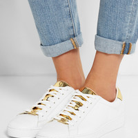 MICHAEL Michael Kors | Irving metallic-paneled leather sneakers | NET-A-PORTER.COM