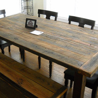 7&#x27; Harvest/Farm Table and bench  built from by jrobbinsbarnworks