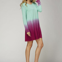 Mint & Fuchsia Ombre Tunic Dress