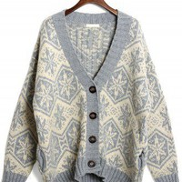 Snowflake Pattern Fairisle Cardigan in White/Smoke - Retro, Indie and Unique Fashion