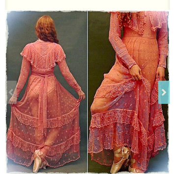 Romantic lace wedding gown /  Vintage maxi party frock or bridal dress in dusty rose pink / fine sheer cotton crochet / bride