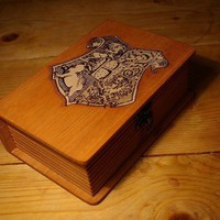 Harry Potter  Hogwarts Spellbook woodburned BOX by BaconFactory