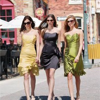 Mini short strapless yellow/black/green Bridesmaid Dresses WDBD093