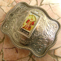 Fairy Godmother Belt Buckle,Womens Belt Buckle, Protection Amulet, Watch Over Me, Boho Gypsy Cowgirl, Custom Belt Buckle, Silver Belt