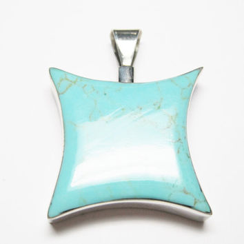 Vintage Turquoise Pendant Mexican Sterling Chunky