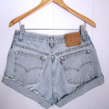 Vintage Levi's High Waisted Cut Off Denim Shorts Blue Jean Faded 31""