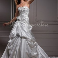 Couture A-line Sweetheart Floor Length Satin Beach Wedding Dress-$336.97-ReliableTrustStore.com