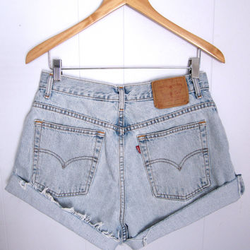 Vintage 90's Levi's High Waisted Cut Off Denim Shorts Blue Jean Distressed 31""