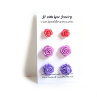 bridesmaid gift, Flower Stud earrings, purple, lilac, pink,  flower earrings, rose stud earrings, resin jewelry set of 3, flower jewelry