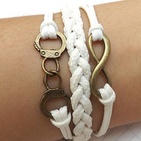 Bracelet --- antique copper gold handcuffs bracelet unlimited bracelets, white woven bracelet