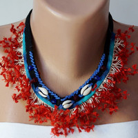Spikey Red Flower..Handmade Crochet and Embrodering Necklace..Red, black, blue, white-OOAK