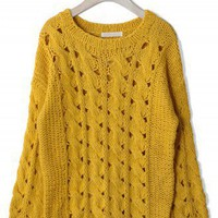 Classic Cable Knit Cut Out Jumper in Mustard - New Arrivals - Retro, Indie and Unique Fashion