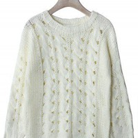 Classic Cable Knit Cut Out Jumper in White - New Arrivals - Retro, Indie and Unique Fashion