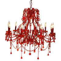 Isabella 10-Light Chandelier, Red, Ceiling Chandeliers