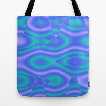Purple And Cyan Abstract Print Tote Bag by KCavender Designs