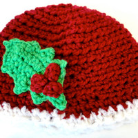 Christmas Hat Beanie Mistletoe Holly Leaf Red White