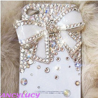 iPhone 4 Case - iPhone 4 cover - iphone 4s case skin - Bling iPhone 4 Case - Cute iPhone 4 Case White bow - iphone 4 bow case