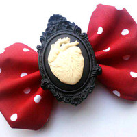 Rockabilly Hair Bow- White and Black Heart on Red and White Polka Dots