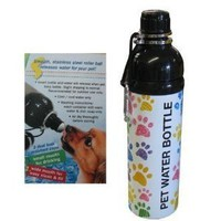 DOG WATER BOTTLE - STAINLESS STEEL- BPA FREE- PUPPY PAWS DESIGN: Pet Supplies