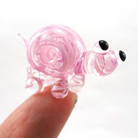 Pink Filigrana Turtle Lamwporked Glass Figurine by MercuryGlass