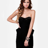 Sexy Black Dress - Studded Dress - Strapless Dress