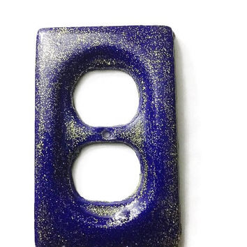 Royal Blue & Gold Glitter Double Outlet Cover / Plate