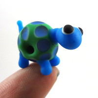 Blue and Green Turtle Lampworked Glass Bead by MercuryGlass