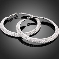 big circle hoop huggie Fashion Earrings Wedding clear Swarovski