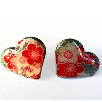 Silver Wooden Heart Chiyogami Earrings