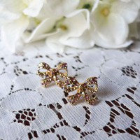 Chicwish Pink Bow Studs - Earrings - Accessory - Retro, Indie and Unique Fashion