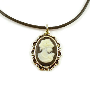 Victorian lady cameo choker, Gothic cameo choker, white lady cameo, small cameo choker, leather cord choker, Gothic choker, vintage style