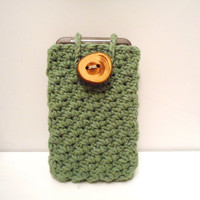 Cotton Cell Phone Cozy with Rustic Wooden Button