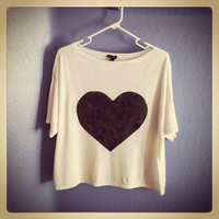 Heart Sweater hand stenciled cream and black loose and drapey OOAK upcycled