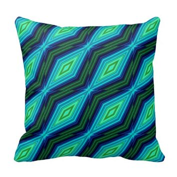 Modern geometric zigzag pattern green and blue throw pillow