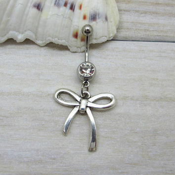 Antique silver bow belly button ring, bow belly button jewelry, bow navel jewelry, belly button ring jewelry,unique gift