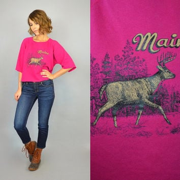 vtg 80s MAINE oversized retro hipster MOOSE cropped novelty SWEATSHIRT, extra small-small