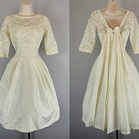 Vtg 50s 60s Ivory LACE Satin WEDDING Party Dress Bow Full Skirt Tulle Lorrie Deb